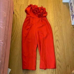 Topshop Red Jumpsuit